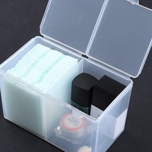 2-Compartments Clear Nail Tool Container Cotton Pad Nail Polish UV Gel Glitter Powder Storage Box(China)