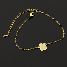 10pcs/lot Rose Gold Colour Good Luck Four Leaf Clover Bracelet Charming Stainless Steel Party Wedding Gift For Women Wholesale