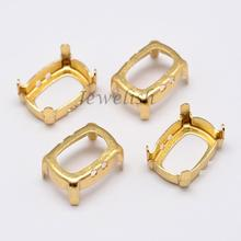10x8x0.4mm Rectangle Brass Rhinestone Claw Settings, Within the Error Range of 1mm, Golden; Fit for 8x10mm cabochons; about(China)