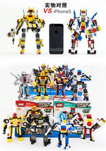 8pcs/lot GUDI 3 changes Assembled block robot Fighter Armored car Helicopter Ship Ares 3 changes and 4 in 1 8707 boys Toy gifts