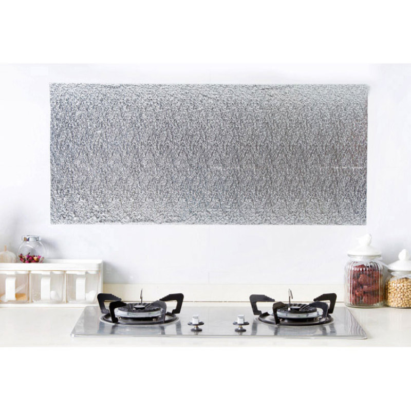 1Pc Kitchen Oil-proof Cleaning Wall Decals Aluminum Foil Wall Sticker for Cabinet Stove Anti-oil Wallpaper 200*40cm A45(China (Mainland))