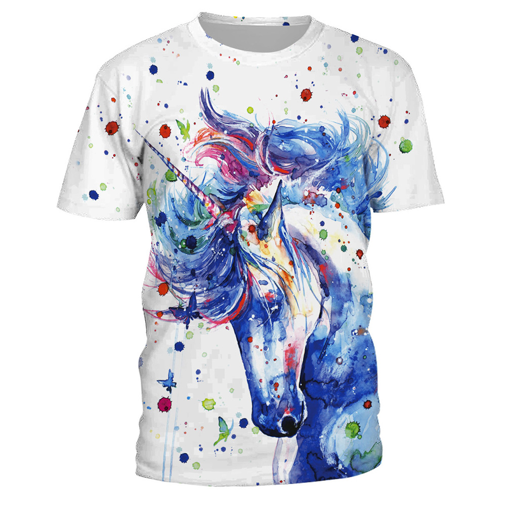 FCCEXIO 2018 New Summer T Shirt Women Animal Horse 3D Print Oil Color Tshirt Hiphop Lnk Splash T-Shirt Harajuku Crop Top 11