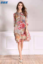 Good Quality Newest Summer Beautiful Retro Vintage Print Silk Dress In Helping you Look Slim