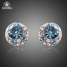 AZORA Blue Eyes Rose Gold Color Stellux Austrian Crystal Round Stud Earrings TE0072(China)