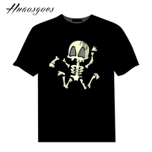 Halloween skulls Tshirt Sound Activated LED Tshirt Light Up and down Flashing Equalizer music activated EL T Shirt for Halloween(China)