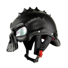 Motorbike BLD color Dual Use Skull Motorcycle Helmet Casco Novelty Retro Casque Half Face Helmet for Harley kawasaki yamaha bws(China)