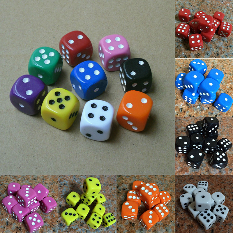 16mm 10PCS//Set Dice Opaque Standard D6 Six Sided Acrylic For RPG Gaming 9 Colors
