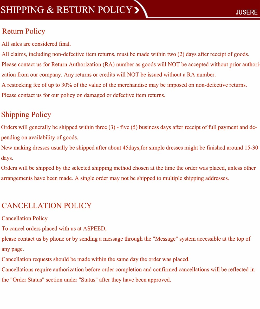 return and shipping policy(1)