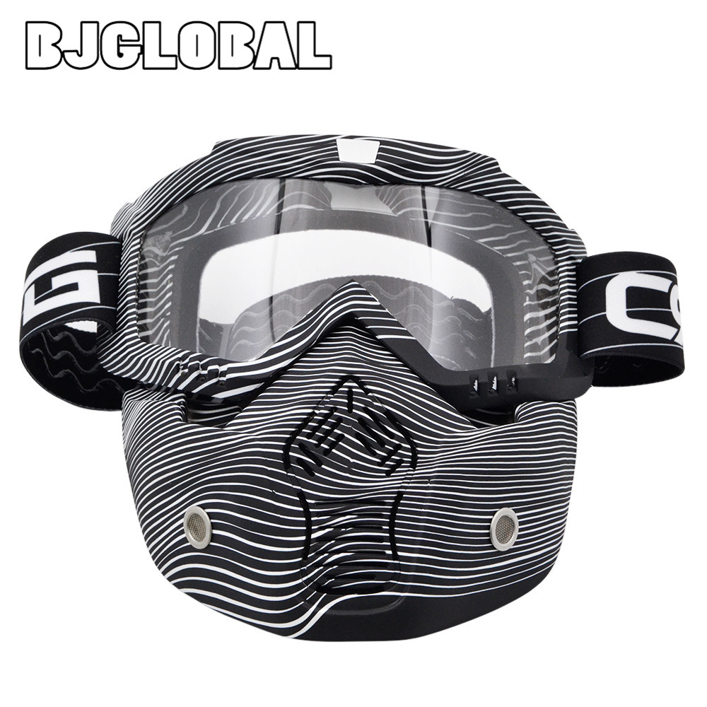 BJGLOBAL Detachable Mask Ski Goggles For Open Face Half Helmet Vintage Motorcycle Men Women Outdoor Cycling Motocross Goggles