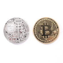 bitcoin Gold Plated Bronze Physical Bitcoins Casascius Bit Coin BTC With Case Gift Home Decoration Crafts  E5M1