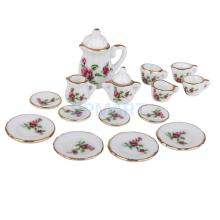 15pcs Dollhouse Miniature Porcelain Tea Set Dish Cup Plate Red Peony