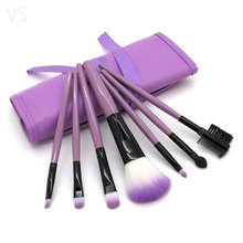 Professional 7 PCS Makeup Brushes Set Tools Make-up Toiletry Kit Wool Brand Make Up Brush Set Case Cosmetic Foundation Brush(China)