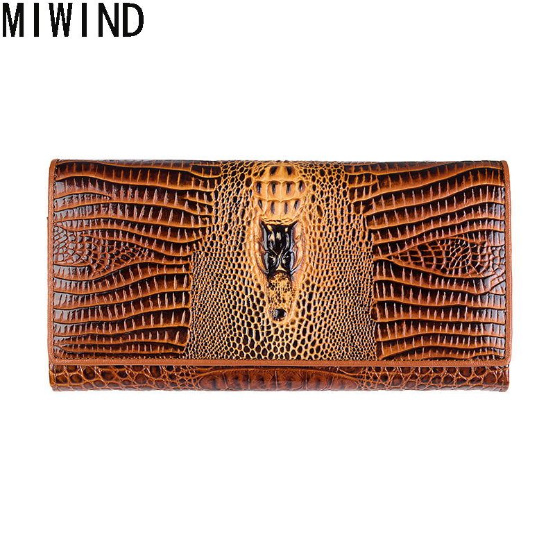 2017 New Genuine Leather Women Wallets High Quality Clutch Cow Leather Luxury Brand Card Holder phone Perse Crocodile  T1139<br>