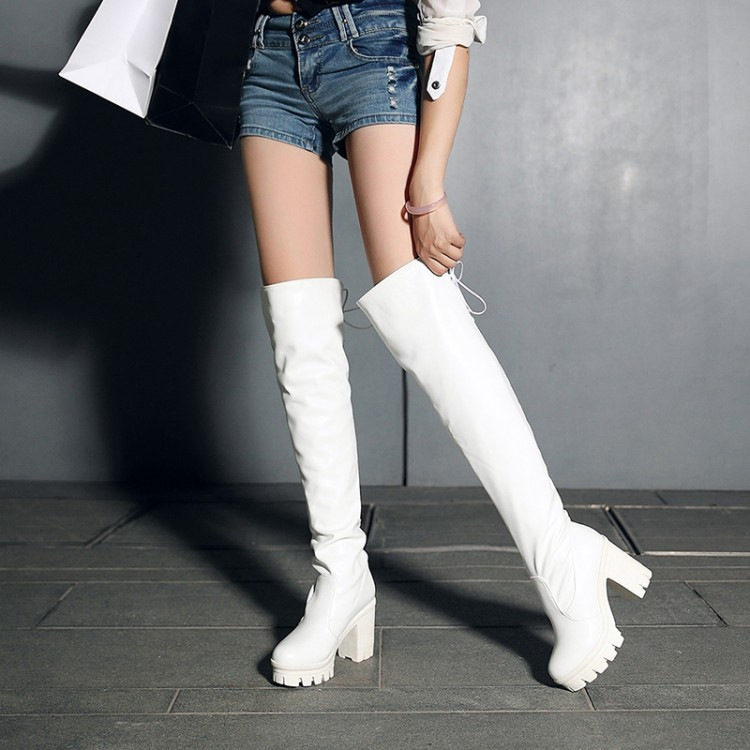 Women White Knee-High Boots Plus Size 40-42 Small 33 Sexy Female Knight Boots Tall Zapatos De Mujer Fashion Schuhe Frau<br><br>Aliexpress