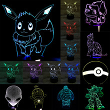 New Christmas Gifts Pokemons Anime Cartoon 3D Visual LED Nightlight Touch Table Illusion Mood Dimming Lamp Atmosphere 7 Color