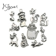 Mixed Tibetan Silver Plated Cat Charms Pendants Jewelry Making Necklace Accessories Bracelet Handmade Crafts 10pcs