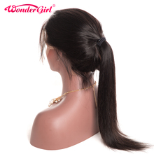 Wonder girl Glueless Lace Front Human Hair Wigs For Black Women Pre Plucked Straight Brazilian Hair Swiss Lace Wig Non Remy(China)