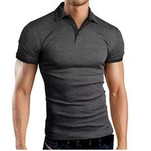 Men Classic Slim más tamaño Causal manga corta Hit Color Casual Tops Simple Color sólido gris rojo grande tamaño de los hombres wu(China)