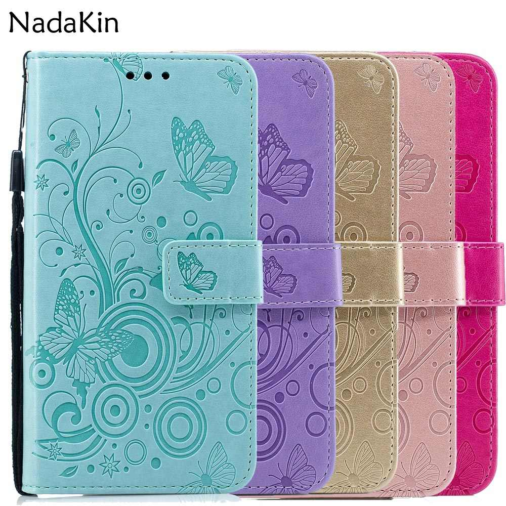 Embossed Flip Book Case for Xiaomi Pocophone F1 Redmi 5 5A Plus Note 6 Pro Wallet Leather Cover Shell Butterfly Pattern Strap