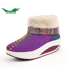 LANTI KAST Winter Warm Shoes Women Colorful 100% Handmade Weave Shoes Thick Sole Healthy Balance Walking Shoes Sneakers Boots(China)