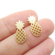 Shuangshuo 2017 Elegant Cute Fruit Stud Earrings Brushed Pineapple Stud Earrings Dainty Minimalist Post Earrings Gift Jewelry(China)