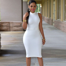 Buy 2017 Summer Women Sexy Halter Strapless Party Dresses Black White Sleeveless Knee-Length Cotton Bodycon Bandage Club Dress