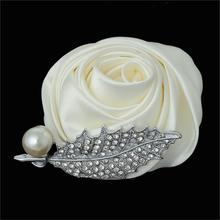 "Ribbon Wedding Bridal Corsage Flower Off-white Clear Rhinestone 7cm x6cm(2 6/8"" x2 3/8"")-6cm x5cm(2 3/8"" x2""),1 Pc"