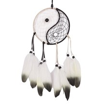 To ward off bad luck and Protect you and your family Taiji Dream Catcher Circular Net With Feathers Wall Hanging Ornament Decora(China)