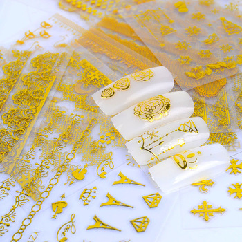 24 Designs DIY Hot Gold 3D Decal Flower Panda Lace etc Pattern Nail Art Stickers Decorations Tool For Manicure Salon Accessories