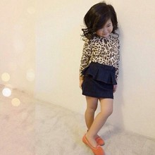 Autumn Winter Baby Girls Clothing Set Leopard Shirt + Denim Skirt Suit Children's Clothes Kids Suit Plaid Chiffon Dress