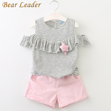 Bear Leader Girls Sets 2017 New Children Clothing Star Brooch Sets Kids Clothes Pullover Grey Stripes Shirt+Pants 2Pcs Suit