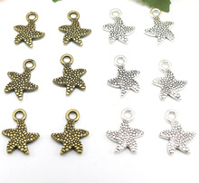 Jewelry finding & components parts Small starfish pendant double-sided starfish Bronze five-pointed star accessories TP2192