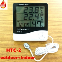 HTC-2 Digital Thermometer Hygrometer Weather Station Temperature Humidity Meter Clock Wall Indoor Outdoor Sensor Probe LCD(China)