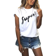 Women Short Sleeve White Shirts Big Size Women Clothes Summer Loose Female Super Letter Printed Women Loose T-shirt Tee Tops