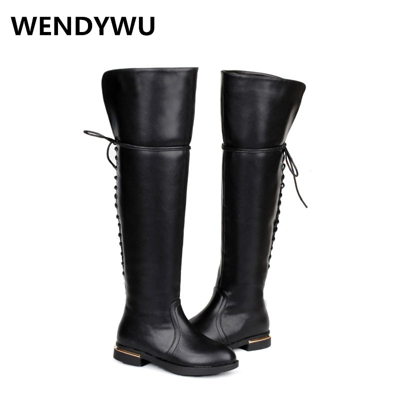 WENDYWU autumn winter children pu leather boots for baby girls over the knee boots kids black shoes toddler brand boots<br>