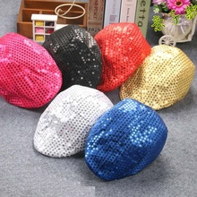 2017 New Kid Baby Boys Girls Sequins Berets Hat Professional Dance Perfomance Beret Cap HOT Children Hats(China)
