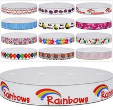 16 Choices Ball Rainbow Balloon Heart Butterfly Printed Grosgrain Ribbons for DIY Hair Baby Item Craft Party Candy Decoration