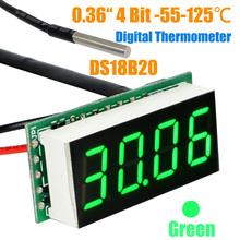 Wholesale Temperature ds18b20 Probe -55 to 125 centigrade 4 digital 0.36 inch thermometer Green led+free shipping-10000246(China)