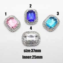 5pcs Double row rectangle 25mm Big Acrylic rhinestone button,Fashion Heart buttterfly flatback diamond button accessory.