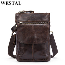 WESTAL Genuine Leather Bag Men Bags Leather Belt Waist Pack Men Messenger Bags Male Phone Small Flap Male Shoulder Crossbody Bag(China)