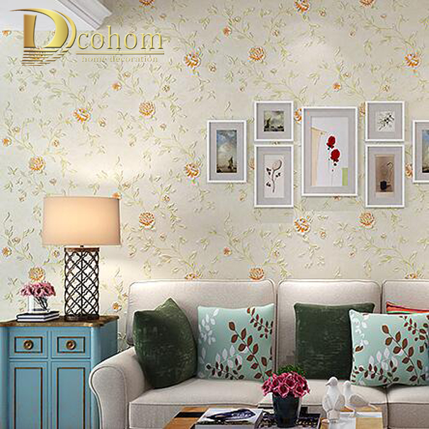 Romantic Embossed 3D Flower Wallpaper Bedroom Pink Beige Floral Nonwoven Wall paper Home Decor Pastoral Wall covering<br>