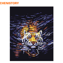 CHENISTORY Swimming Tiger DIY Digital Oil Painting By Numbers Home Decoration Wall Art Picture Kits Acrylic Painting On Canvas