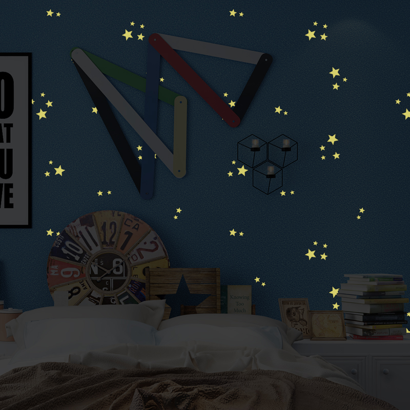 3D Cartoon Childrens Room Non-woven Fluorescent Wallpaper Modern Boys And Girls Bedroom Luminous Star Sky Roof Wall Paper Rolls<br>