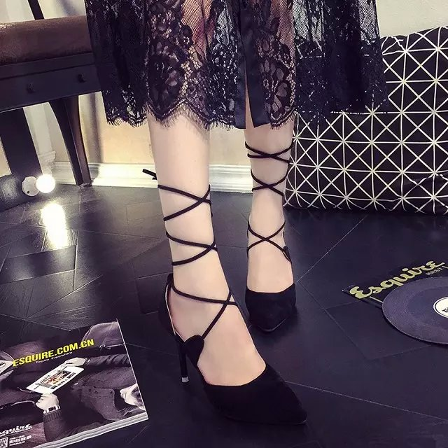 Shoes Women Fashion Roman Cross Strap Pumps 2017 Sexy Pointed Toe Suede Leather Female Pumps Stiletto High Heels<br><br>Aliexpress