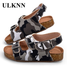 ULKNN Brand Kids Footwear Children School Shoes Boys Girls Sandals Leather Camouflage Shoes Casual Apartments Baby Sandals