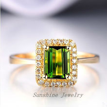 Solid 14k Yellow Gold Natural Green Tourmaline & . Engagement Wedding   Free shipping