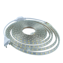 AC 220V led strip light SMD5050 60leds/M IP67 Waterproof Led flexible Tape 1M/2M/3M/4M/5M/6M/7M/8M/9M/10M/15M/20 + Power Plug
