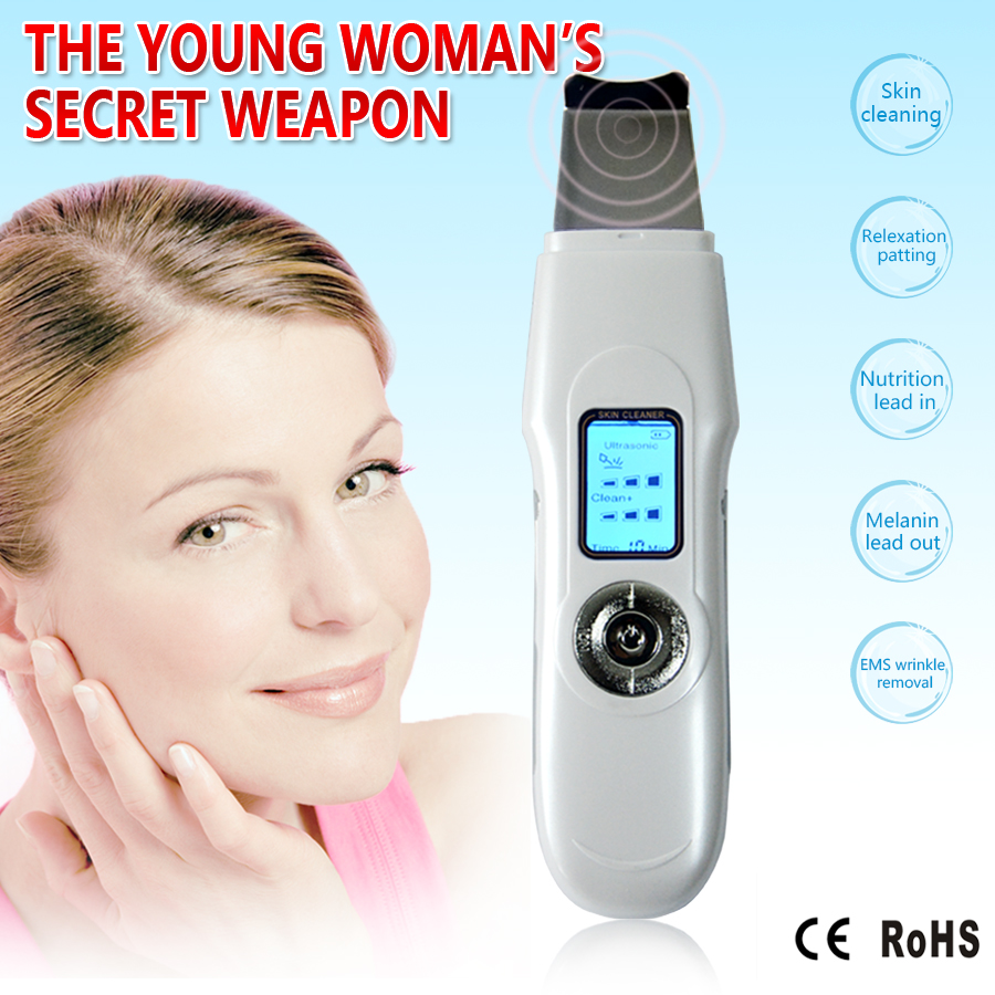 LCD Mini Portable Facial ultrasonic face massager Ion Skin Scrubber Peeling Facial Cleaner Massager  Free Shipping<br>