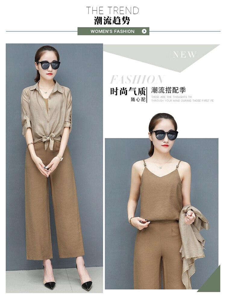 2019 Spring summer women sets office lady elegant chiffon blouse shirts+female wide leg pants trousers pantalon two piece sets 6 Online shopping Bangladesh