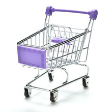 MENGXIANG Mini Supermarket Hand Trolleys Mini Shopping Cart Desktop Decoration Storage Phone Holder Baby Toy(China)